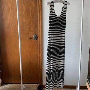 Merona Black White Striped Maxi Dress
